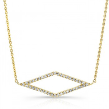 14K Yellow Geometric Rhombus Diamond Necklace