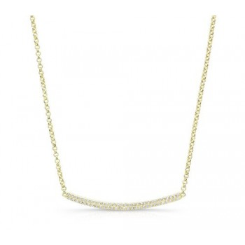 14K Yellow Gold Curved Bar Diamond Necklace