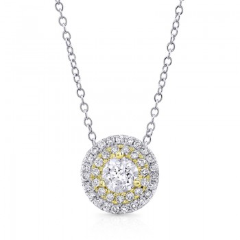 14K Yellow 1/2ctw DIAMOND DOUBLE HALO PENDANT