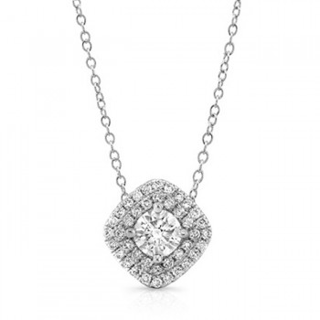 14K Cushion White 1/2ctw DIAMOND DOUBLE HALO PENDANT