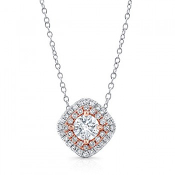 14K Cushion Rose 1/2ctw DIAMOND DOUBLE HALO PENDANT