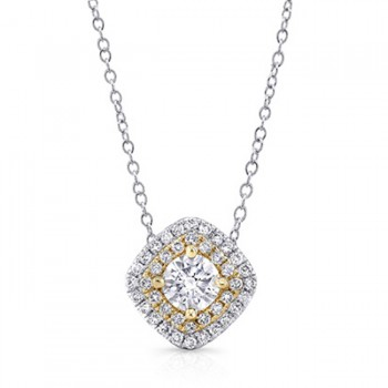 14K Cushion Yellow 1/2ctw DIAMOND DOUBLE HALO PENDANT