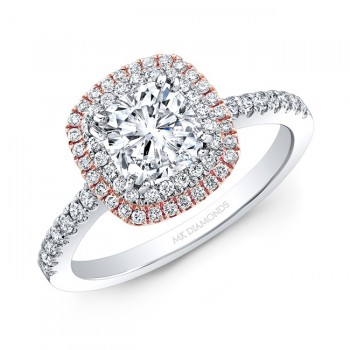 1 Carat Cushion Diamond Halo Ring