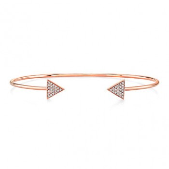 14k Rose Gold Diamond Arrow Shape Pave Bangle