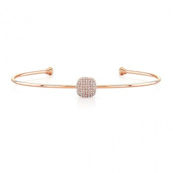 14k Rose Gold Diamond Cushion Shape Pave Bangle