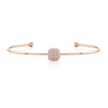 14k Rose Gold Diamond Cushion Shape Pave Bangle