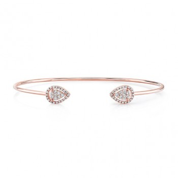14k Rose Gold Diamond Pear Shape Pave Bangle