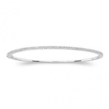 14k White Gold Diamond Prong Set Bangle