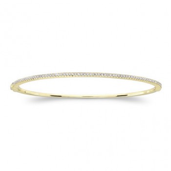 14k Yellow Gold Diamond Prong Set Bangle