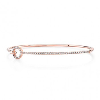 14k Rose Gold Diamond O Shape Bangle