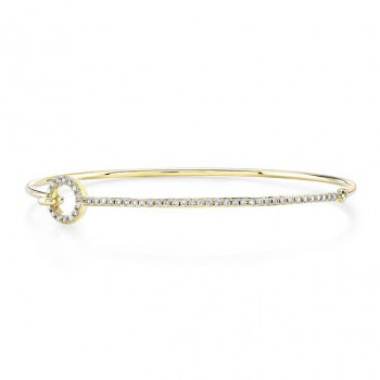 14k Yellow Gold Diamond O Shape Bangle