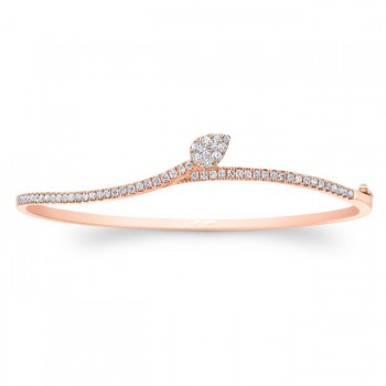14k rose Gold Diamond  Leaf Bangle