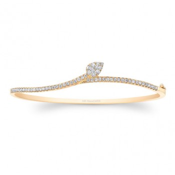 14k Yellow Gold Diamond  Leaf Bangle