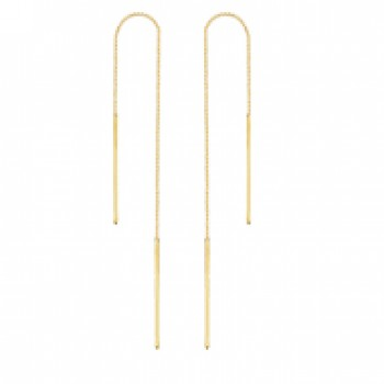 14K Yellow Gold Bar Box Threader Earrings