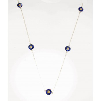 White Gold Sapphire Five Evil Eye Necklace-20105W