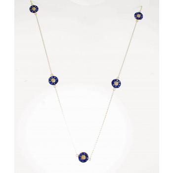 White Gold Sapphire Five Evil Eye Necklace-20105W