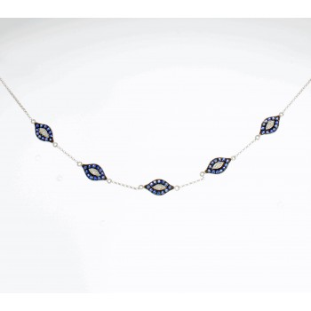 White Gold Sapphire Five Evil Eye Necklace