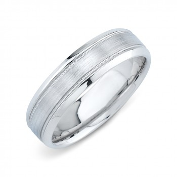 Mens Wedding Ring With Brushed Finish