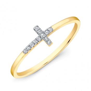 Small Yellow Gold Diamond Cross Ring