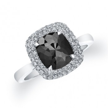 Black Diamond Cushion Ring 22829