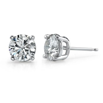 14K White Gold 4 Prong Classic Brilliant Stud Earrings 2ct, Front And Side View