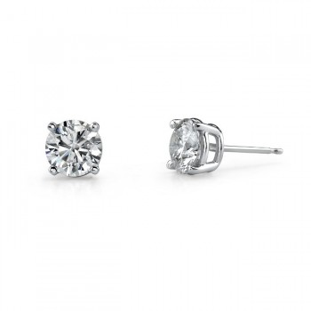 14k White Gold 4 Prong Classic Brilliant Stud Earrings 1/5 ct Total Weight