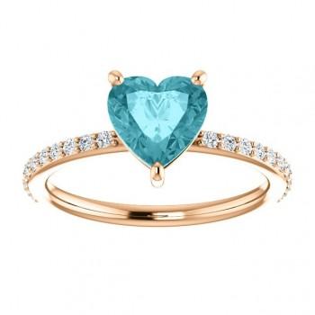 14k Rose Gold Heart Shape Blue topaz and diamond