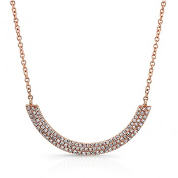 14K Rose 3 Row Diamond Curved Bar Necklace