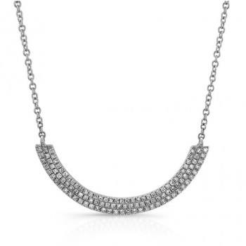 14K White Gold 3 Row Diamond Curved Bar Necklace