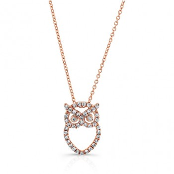 Rose Gold Diamond Owl Necklace