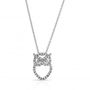 White Gold Diamond Owl Necklace