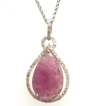 Pink Sapphire & Diamond Sterling Silver Pendant CM20544