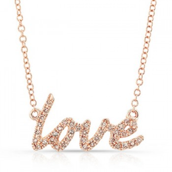 14K Rose Cursive Love Diamond Necklace