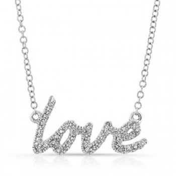 14K White Cursive Love Diamond Necklace