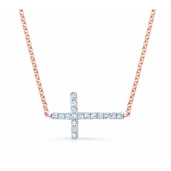Rose Gold Sideways Diamond Cross Necklace .14cts
