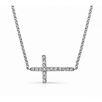 White Gold Sideways Diamond Cross Necklace