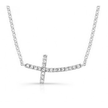White Gold Curved Diamond Cross Necklace
