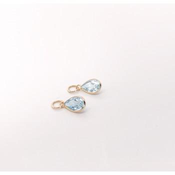 14k YG Blue Topaz Earring Charms