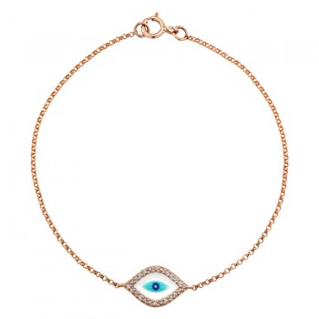 14k Rose Gold  Diamond Evil Eye Bracelet 23785-R