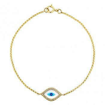 14k Yellow Gold  Diamond Evil Eye Bracelet 23785-Y