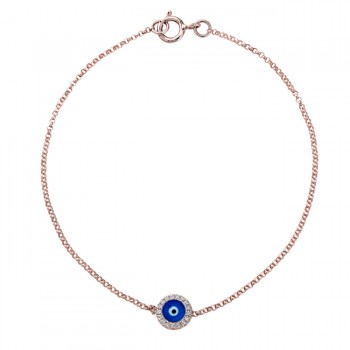 14k Rose Gold Diamond Dark Blue Enamel Evil Eye Chain Bracelet