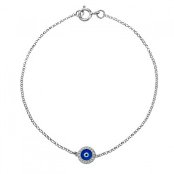 14k White Gold Diamond Dark Blue Enamel Evil Eye Chain Bracelet