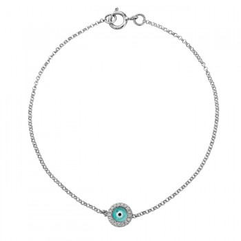 14k White Gold Diamond Turquoise Blue Enamel Evil Eye Chain Bracelet