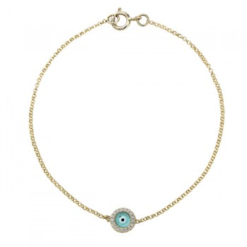 14k Yellow Gold Diamond Turquoise Blue Enamel Evil Eye Chain Bracelet