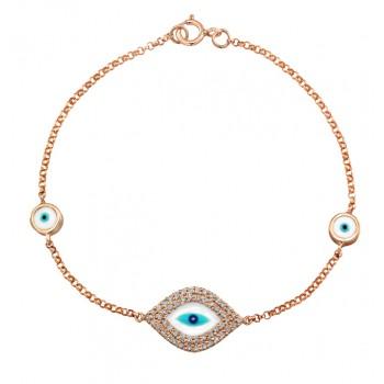 14k Rose Gold  Diamond Evil Eye Bracelet 23971-R