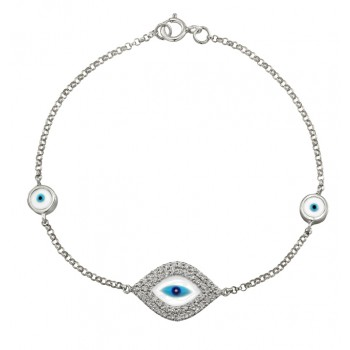 14k Yellow Gold  Diamond Evil Eye Bracelet 23971-W