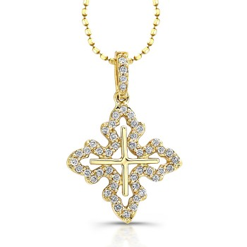 14K Yellow Filigree Diamond Cross Pendant 1/5CTW