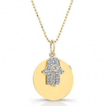 14k Yellow Gold Diamond Circle Hamsa Pendant