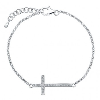 Sterling Silver Diamond Cross Chain Bracelet