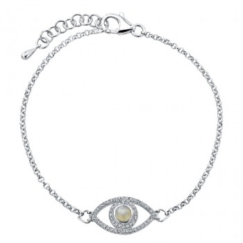 Sterling Silver Diamond and Moonstone Evil Eye Chain Bracelet